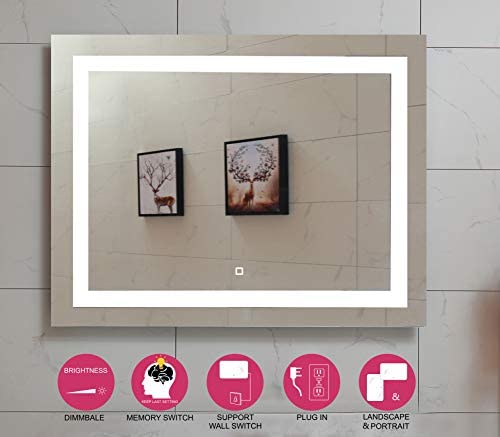 36X28 Inch LED Lighted Bathroom Mirror with Dimmable Touch Switch GS099D-3628N 36X28 inch New