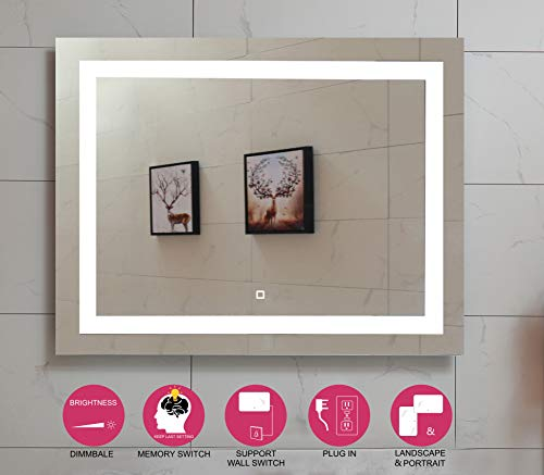 36X28 Inch LED Lighted Bathroom Mirror with Dimmable Touch Switch (GS099D-3628N) (36X28 -