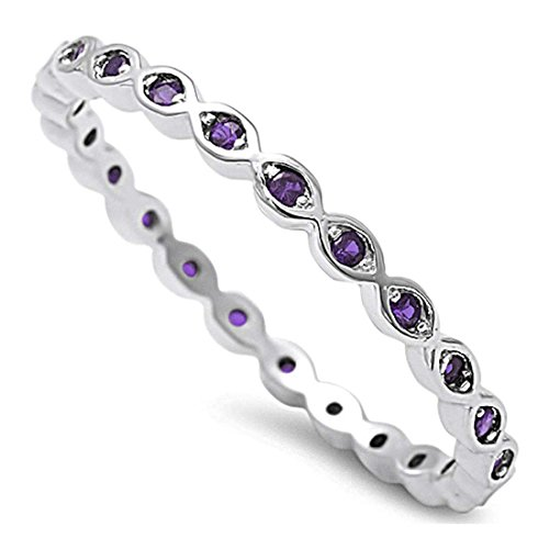 Blue Apple Co. 2mm Full Eternity Stackable Band Ring Round Simulated Purple Amethyst 925 Sterling Silver