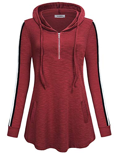 Red Hoodie Women Vneck Long Sleeve 1/4 Zipper Front Hooded Tunic Sweater Solid Color Plain Classy A Line Round Hem Jersey Knit Pullover Sweatshirt Juniors Tops Wine Ruby L ()