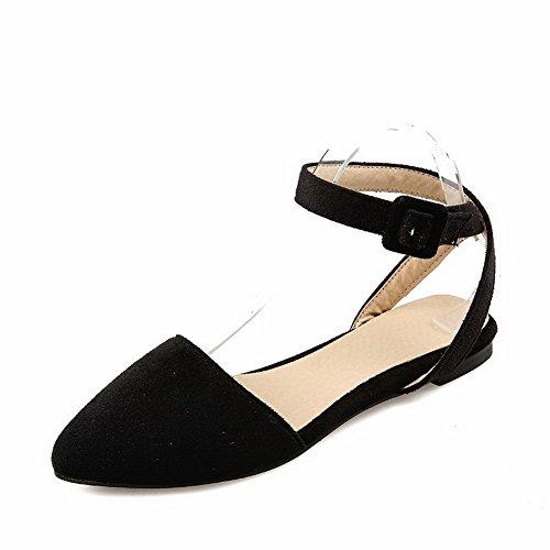 AllhqFashion Mujeres Hebilla Puntera Cerrada Sólido Sandalias de vestir Negro