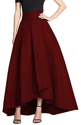 CoutureBridal Femme Jupe Longue Elgante Jupe Vintage Haille Haute pour Soire Satin Rouge Fonc