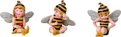 Set of 3 Sitting Bumblebee Fairies 3 Inch Decorative Miniature (3 Assorted Sitting Dogs)
