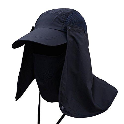 机不忠ビジョン取り外し可能 UVカット 帽子 釣り 農作業 に (ネイビー)
