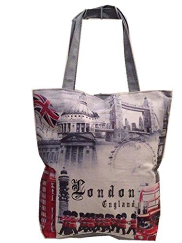 Lady girl's Women's London Skyline Printed Shopper Handbags, Souvenir Novelty Tote Handbags London/Soldier