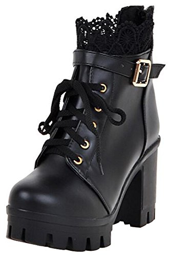s Comfy Buckled Strap Lace Splicing Round Toe Block High Heel Platform Lace up Short Boots Black 9.5 B(M) US ()