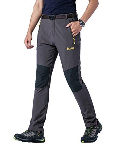 MorryOddy Men's Outdoor Waterproof Softshell Fleece Snow Pants Dark Grey 34