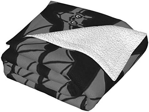 Couverture en polaire à rayures noires et grises pour lit et salon 127 x 101,6 cm