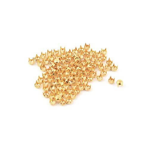 DealMux Metal Round Shaped Head DIY Rivet Studs 4mm 100pcs Gold Tone for Clothing Bag