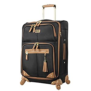Steve Madden Designer Luggage Collection – Lightweight 24 Inch Expandable Softside Suitcase – Mid-size Rolling 4-Spinner Wheels Checked Bag (Harlo Black)