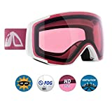 Unigear Skido X2 Kids Ski Goggles, 100% UV Protection Over The Glasses Snow Goggles with Toric Double Lens for Boys and Girls (Rose Red Lens (VLT 32.4%))