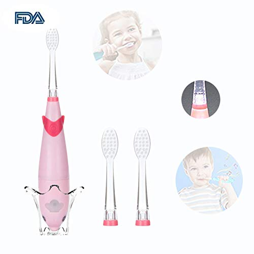 Musical Toothbrush - Kids Sonic Electric Toothbrush, Musical Sonic Baby Toothbrush Smart Sonic Toddler Toothbrush Battery Operated Sonic Toothbrush with 2 Replaceable Brush Heads (Pink)