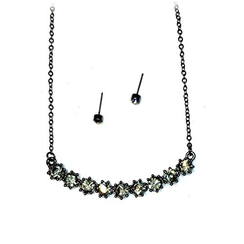 Joji Boutique Gunmetal and Smoky Crystal Row Necklace and Earring Set