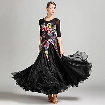 8a35c9db39 YYWUDAOQUN TT Dance Dresses Ballroom Dance Women s Performance Tulle Velvet  Pattern Print Color Block Half Sleeves