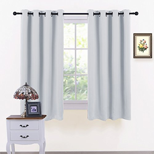 PONY DANCE Window Curtains White - Light Block Curtain Panels Energy Saving Window Drapes/Home Decoration Modern for Kids/Living Room, 52 Wide by 63 inch Long, Greyish White, 2 ()