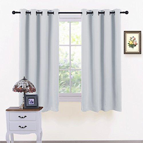 greyish white blackout curtains set
