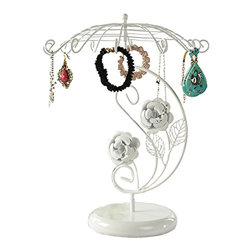 Jewelry Stand, Botitu12.8 inch Tall Revolving Necklace Holder with 12 Hooks Jewelry Display for Girls and Women, Suitable for Hanging Bracelets, Hair Accessories and Earring Organizer Tree(white)