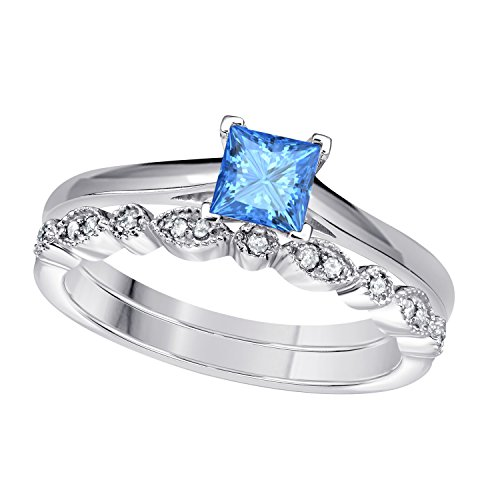 DS Jewels Bridal Set for Women 1.00 Ct Princess & Round Cut CZ Blue Topaz & Cubic Zirconia 14k White Gold Plated .925 Sterling Silver Vintage Style Wedding Band Engagement Ring Size 5-11