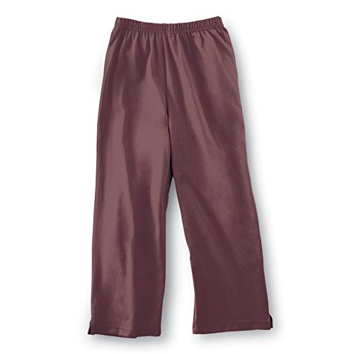 Collections Etc Women's Capri Pants with Easy Elastic Waist Misses Chocolate Large, Chocolate, Large