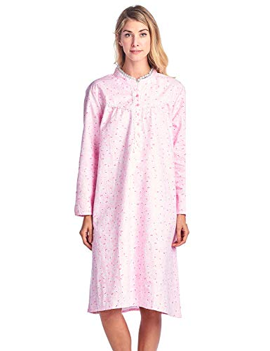 Ladies Flannel Nightgowns - Casual Nights Women's Flannel Floral Long Sleeve Sleepwear Nightgown - Pink - Large