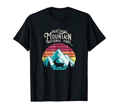 Great Smoky Mountains National Park Elk Deer Retro T Shirt