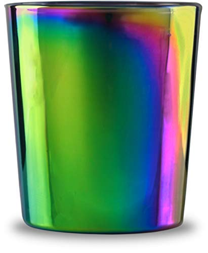 Circleware 76873 Fusion Luster Whiskey Glasses Set of 4-13.5 oz Heavy Base Beverage Drinking Glassware Cups for Water, Liquor, Beer, Juice, 4pc DOF, Rainbow