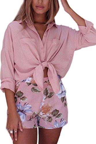 Women 's Loose Casual Slim Blusas De Manga Larga Pink