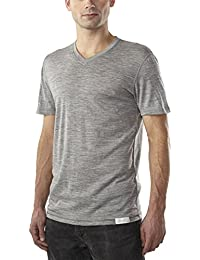 Woolly Clothing Men's Merino V-Neck Tee Shirt - Everyday Weight - Wicking Breathable Anti-Odor