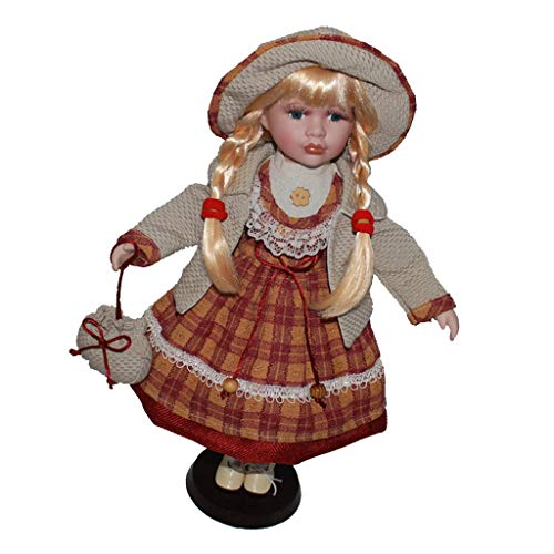 (DYNWAVE Victorian Porcelain Doll Female Statue Collectible, 16inch Porcelain Doll Figurines, Ceramics Collectible, Home Ornament Decor)
