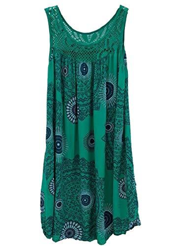 Mini Beach Sleeveless Swing Green Printed Sundress Stitching Dress Jaycargogo Womens Lace 8qpT5Yw