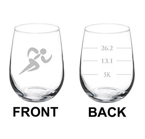 Glass Runner (Wine Glass Goblet Two Sided Runner Run Marathan Fill Lines (17 oz Stemless))