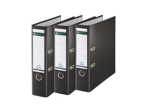 Leitz 180 Degrees Plastic Lever Arch File, 80 mm Spine - A4, Black, Pack of 3 by Leitz