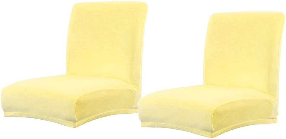 Baoblaze 2X Stretch Short Low Back Chair Cover Bar Counter Stool Slipcover Yellow