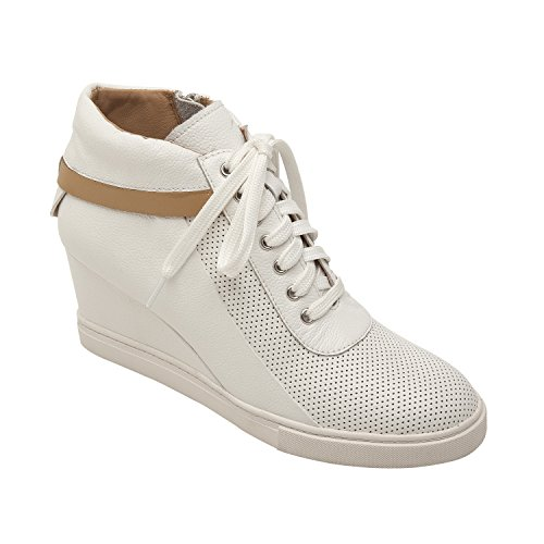 Linea Paolo Freja | Women's Lace-up Comfortable Leather Platform Wedge Sneaker (New Spring) White/Tan Leather 6.5M