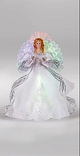 White Angel 16 inch Plush Fabric Fiber Optic Christmas Tree Topper Decoration (Angel Tree Ribbon Topper)