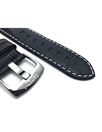 22mm Black Mens' Alligator Style Genuine Leather Watch Strap Band, With White Stitching