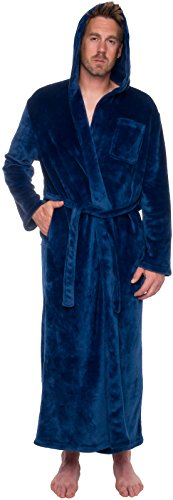 Hooded Blue Robe (Ross Michaels Mens Hooded Long Robe - Full Length Big & Tall Bathrobe (Navy, L/XL))