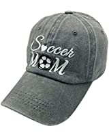 Waldeal Embroidered Unisex Soccer Mom Adjustable Dad Hats Vintage Washed Cotton Denim Baseball Cap Game Day Hat Grey