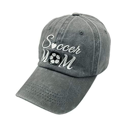 Mom Visor - Waldeal Embroidered Unisex Soccer Mom Adjustable Dad Hats Vintage Washed Cotton Denim Baseball Cap Game Day Hat Grey