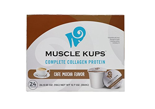 Muscle Kups Complete Collagen Protein For Added Health Support  Designed For Use With K Cup Pod Coffee Maker  0 53 Ounce  24 Count Recyclable Pods  Caf  Mocha