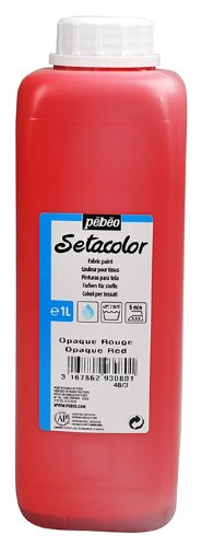 Pebeo Setacolor Opaque Fabric Paint 1-Liter Bottle, Red