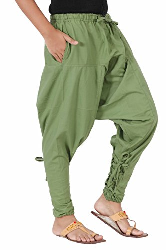 Kids Harem Cotton Hippie Boho Summer Dance Playful Pants - Samurai Style (Green, Large) by The Harem Studio