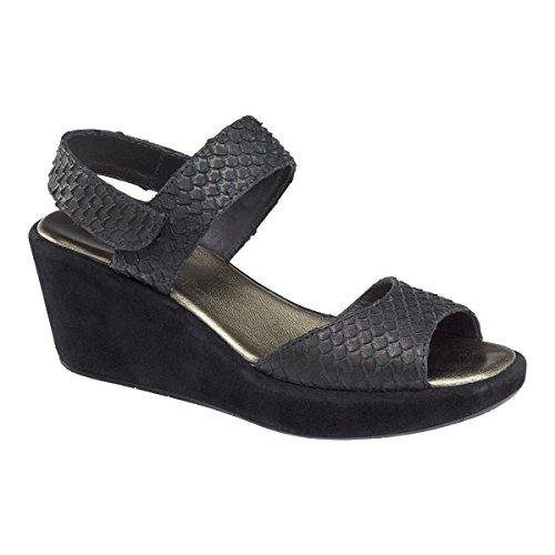 Johnston & Murphy Women's Deanna Ankle Strap Wedge Black Snake Print - Black Leather Snake Print