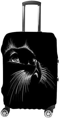 スーツケースカバー 伸縮素材 トランク カバー 洗える 汚れ防止 キズ保護 盗難防止 キャリーカバー おしゃれ かわいい猫の顔 ブラック ポリエステル 海外旅行 見つけやすい 着脱簡単 1枚入り