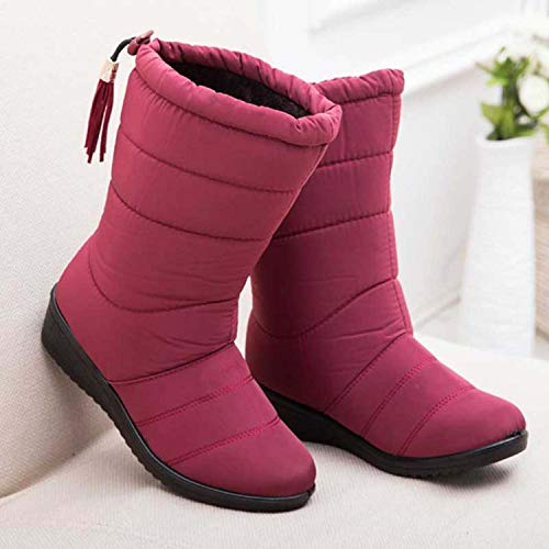 Amazon.com | Winter Women Mid-Calf Down Boots High Bota Waterproof Ladies Snow Winter Woman Plush Insole Botas | Shoes