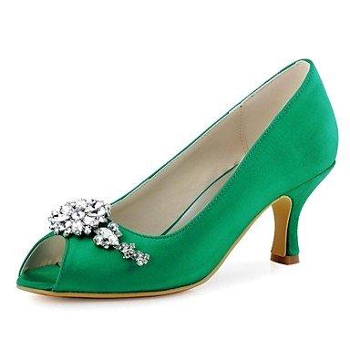 RTRY Las Mujeres'S Wedding Shoes Bomba Básica De Satén Stretch Primavera Verano Boda &Amp; Noche Crystal Stiletto Heellight Rosa Azul Verde Azul Marino US4-4.5 / EU34 / UK2-2.5 / CN33