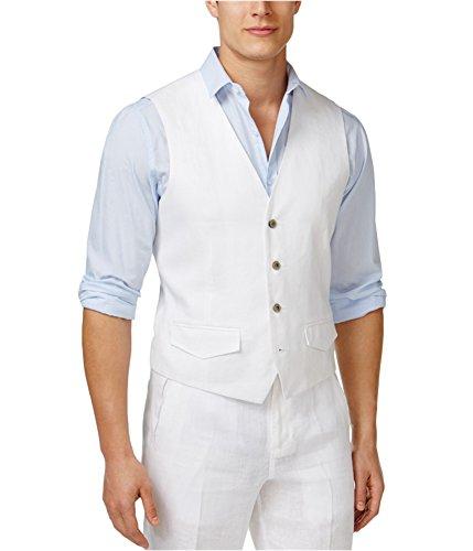 Tasso Elba Mens Linen Woven Textured Button-Front Vest White XL -