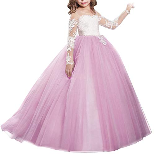 IBTOM CASTLE Girls Flower Lace Princess Christmas First Communion Tulle Dress Kids Long Pageant Gown Floor Length Prom Dance Evening #I Long Sleeve Plum Lavender 4-5T ()
