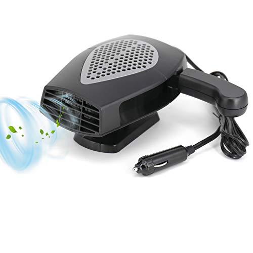 Portable Car Fan or Heater 12V - Cooling Car Space & Fast Heating Defrost Defogger Space Automobile Windscreen Fan, Heat Cooling Fan Ceramic 3-Outlet Plug Adjustable Thermostat in Cigarette Lighter