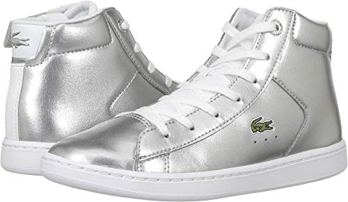 Lacoste Kids Girl's Carnaby Evo Mid 318 (Little Kid) Silver/White 12.5 M US Little Kid ()